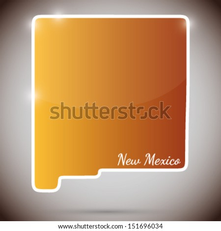 vintage sticker in form of New Mexico state, USA  - stock vector