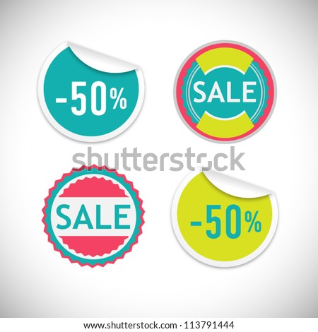 Vintage stickers for sale - stock vector
