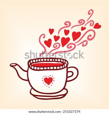 Vintage stile tapot with harts. Valentines day card. - stock vector