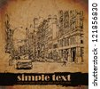 Vintage street background. Hand drawn vector illustration. - stock photo