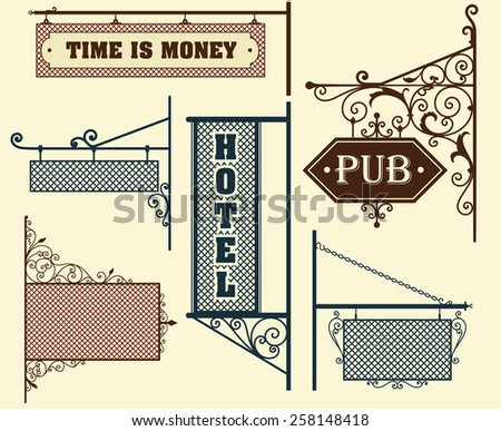 Vintage street signboards hanging on forged brackets - stock vector