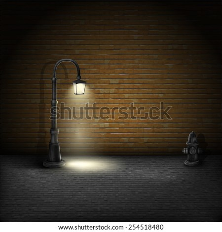 Vintage Streetlamp On Brick Wall Background. Vector Illustration. - stock vector