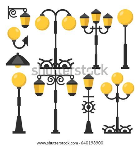 Vintage streetlights set black outdoor light stock photo photo black outdoor light posts street lamps street lanterns collection aloadofball Images