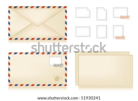 Vintage striped letter set: letter, envelope and stamps. - stock vector