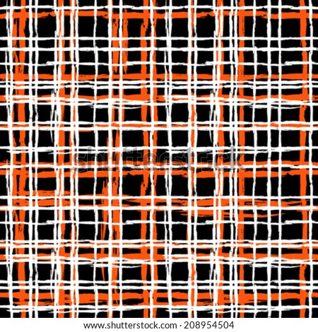 Vintage striped seamless pattern with crossing brushed lines in multiple bright colors - black, white, orange. Vector hand drawn plaid texture. - stock vector