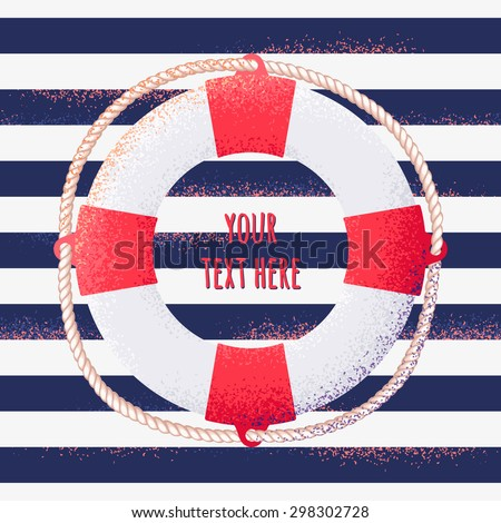 Vintage striped vest seamless pattern with life buoy. Place for your text. Design for invitation, card, poster - stock vector