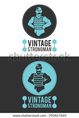 Vintage Strongman is a modern, elegant and exclusive logo or badge. He represents a strong man in a retro style. It is a logo usable in multiple companies and businesses. - stock vector