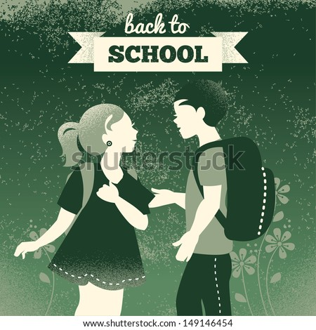 Vintage students background. School boy and girl. Back to school illustration - stock vector