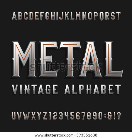 Vintage style alphabet vector font. Metal effect letters and numbers on a dark background. Retro vector typeface for labels, flyers, headlines, posters etc. - stock vector