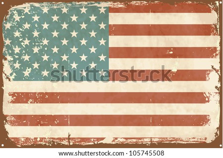 Vintage style American Flag on the tin sign - stock vector