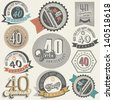 Vintage style 40 anniversary collection. Forty anniversary design in retro style. Vintage labels for anniversary greeting. Hand lettering style typographic and calligraphic symbols for 40 anniversary. - stock