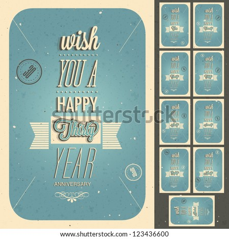 Vintage style anniversary design collection. Set of typographic inscriptions design for anniversary. Vector calligraphic anniversary cards design in retro style. - stock vector