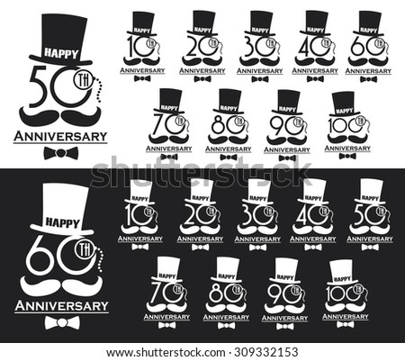 Vintage style anniversary sign collection. Anniversary cards design in steampunk style.