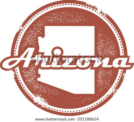 Vintage Style Arizona State Stamp - stock vector