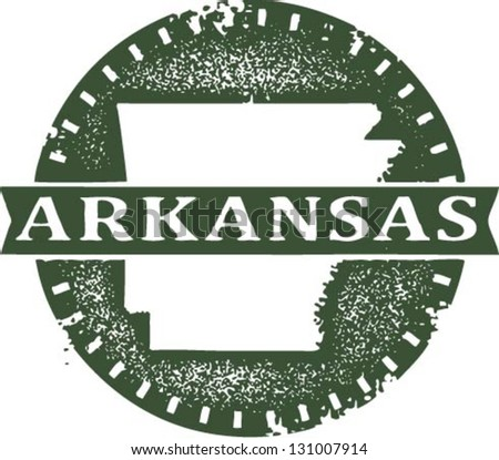 Vintage Style Arkansas USA State Stamp - stock vector