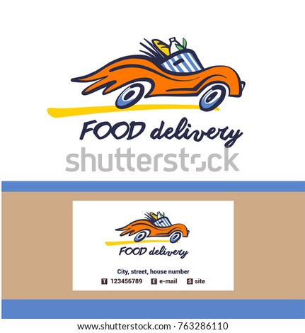 Vintage style badge food delivery service stock vector 763286110 vintage style badge for food delivery service freehand drawn silhouette of vehicle with wheel on maxwellsz