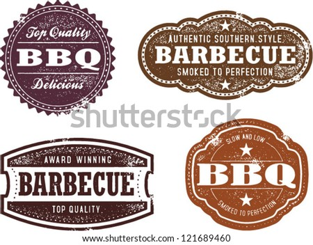 Vintage Style Barbecue BBQ Stamps - stock vector