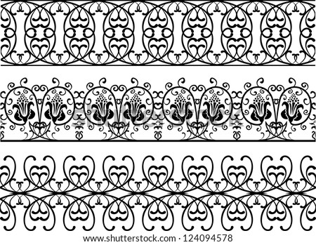 Vintage style borders stencil set - stock vector