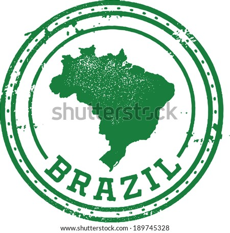 Vintage Style Brazil South America Travel Stamp - stock vector