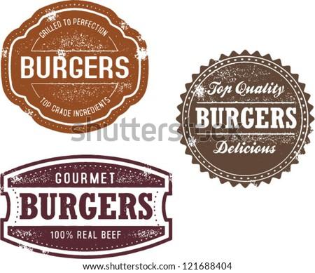 Vintage Style Burger Menu Stamps - stock vector