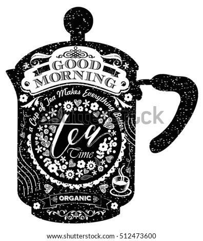 Vintage style cafe menu with teapot or coffee pot shape background. Vector Chalkboard menu with calligraphy and ornaments for coffeehouse, tea shop, coffee shop, bar and restaurant
