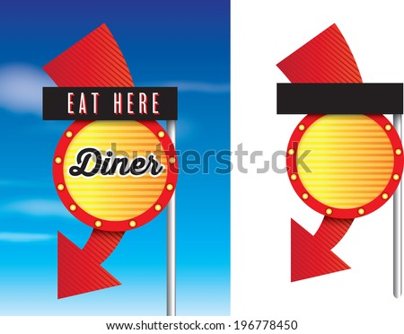 vintage style cafe or diner signs isolated on white - stock vector