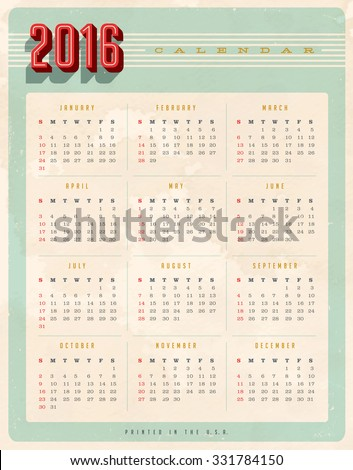 Vintage style 2016 calendar  - Editable, grunge effects can be easily removed for a brand new, clean sign. - stock vector