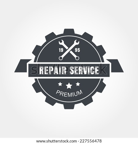Vintage style car repair service label. Vector logo design template. - stock vector