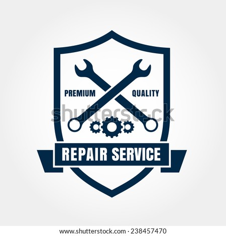 Vintage style car repair service shield label. Vector logo design template. - stock vector