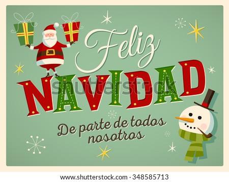 Vintage style christmas card spanish feliz stock vector 348585713 vintage style christmas card in spanish feliz navidad de parte de todos nosotros m4hsunfo