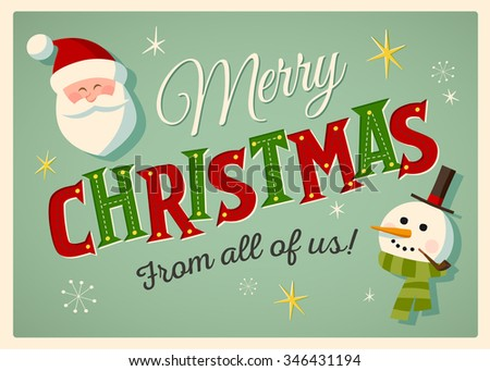 Vintage style Christmas card with Santa Claus and snowman. EPS10 - stock vector