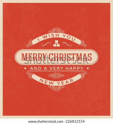 Vintage Style Christmas Greeting Card - Merry Christmas Lettering - stock vector