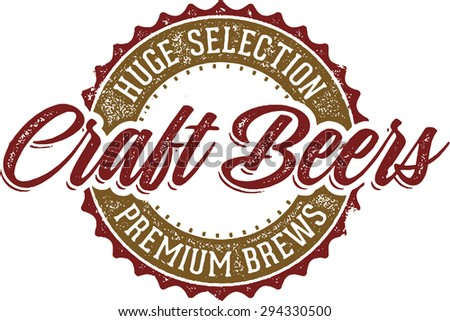 Vintage Style Craft Beer Sign - stock vector