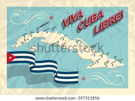 Vintage Style Cuba Map Viva Cuba Stock Vector Royalty Free - Vintage map of cuba