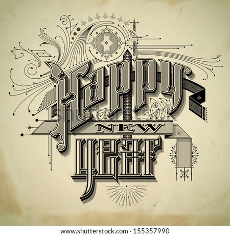 Vintage style detailed New Year card - stock vector