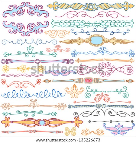 Vintage style doodles  ornaments  dividers  calligraphic design elements  and cute decorations  retro. Vintage Style Doodles Ornaments Dividers Calligraphic Stock Vector