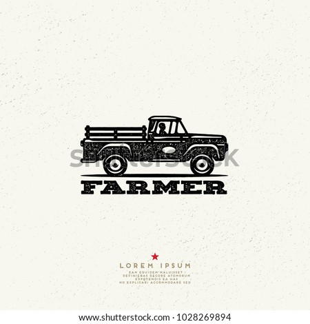 Vintage Style Farmer Logo. Ink stamp designs. Pickup truck Sign.