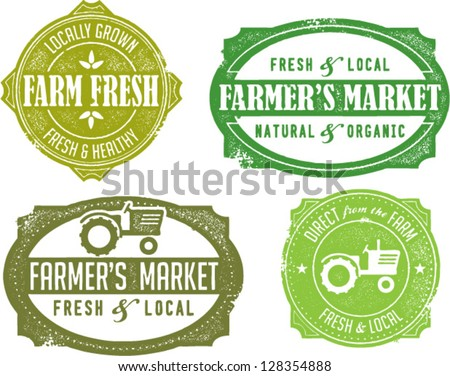 Vintage Style Farmer's Market Stamps - stock vector