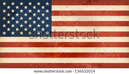 Vintage style flag of the United States of America. Grunge Elements give it an used and dirty feeling. Hoist (width) / Fly (length) of the flag = 1 to 1.9 - stock vector