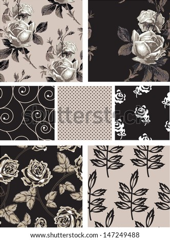 Vintage Style Floral Rose Seamless Vector Patterns.  Use to create digital paper for craft projects or print onto textiles for stunning home accessories. - stock vector