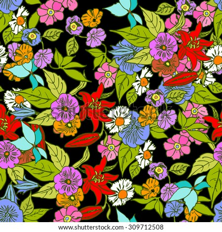 Vintage style floral seamless pattern, vector background with flowers, creative retro wallpaper, beautiful fabric and wrapping for decoration and design - stock vector