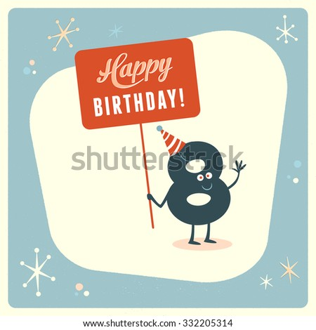 Vintage style funny 8th birthday Card. - stock vector