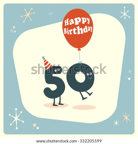 Vintage Style Funny 50th Birthday Card Stock Vector 332205599