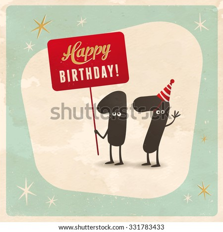 Vintage Style Funny 17th Birthday Card Stock Vector 331783433