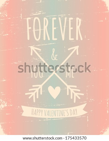 Vintage style greeting card for Valentine's Day in pastel colors. - stock vector