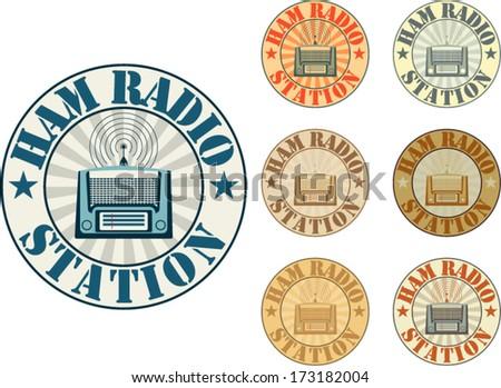 Vintage style ham radio station badges - stock vector