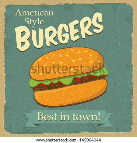 Vintage style hamburger, food concept advertising, vector illustration - stock vector