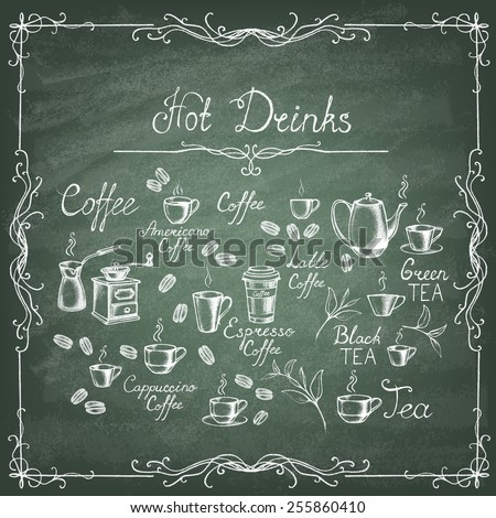 Vintage style. Hand-drawn Collection Sketches of hot drinks on the green blackboard. Vector illustration. - stock vector