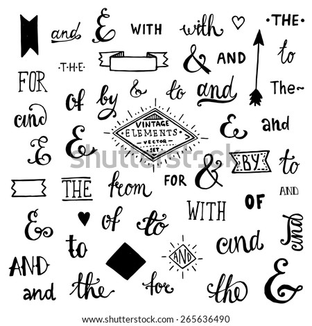 Vintage Style Hand Lettered Ampersands and Catchwords for Logo and Label Designs. - stock vector
