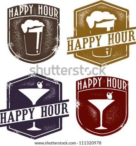 Vintage Style Happy Hour Beer & Cocktail Stamps - stock vector